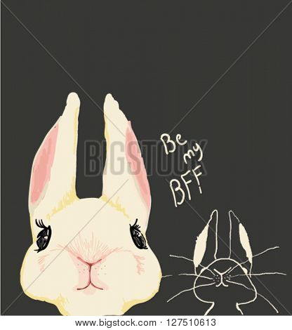 illustration rabbit sketch with family