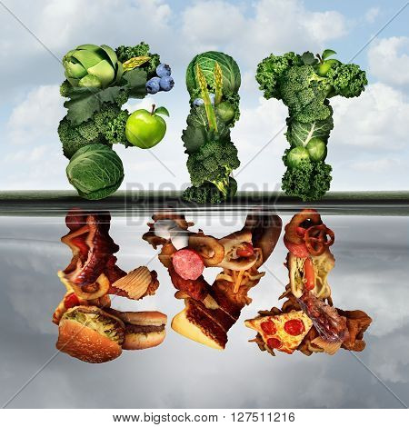 Eating lifestyle change concept fat or fit as a group healthy green fruits and vegetables reflecting greasy unhealthy food as an icon for diabetes or diabetic diets with 3D illustration elements.