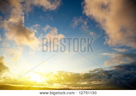 sunset and cloudy sky
