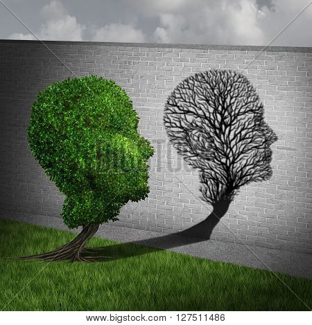 Feeling sick and sickness concept as a full green tree casting a shadow on a wall shaped as an empty plant with only branches as a health symbol of human disease and illness in a 3D illustration style.