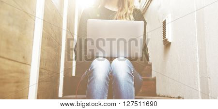 Student Woman Using Notebook Working Concept