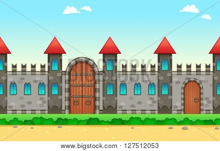 Repeatable castle on the sides. The sides repeat seamlessly for a possible, continuous animation, vector illustration