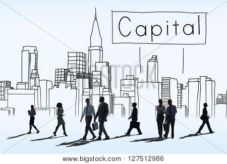 Capital City District Modern Business Cityscape Concept