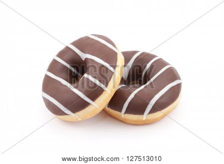 Two chocolate donuts isolated on white with clipping path