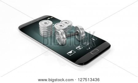 3D rendering illustration of phone with dumbbells on white background