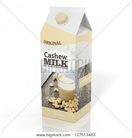 3D rendering illustration of pack of cashew milk on white background.Isolated.