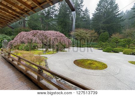 Rainy Day at the Flat Garden by the Pavilion at Japanese Garden in Spring Season