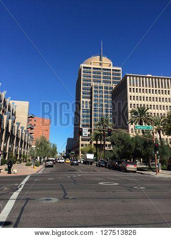 PHOENIX AZ - FEBRUARY 8 2016: Skyscraper of Phoenix City Hall as seen from 3rd Avenue and Jefferson Street in Phoenix downtown Arizona