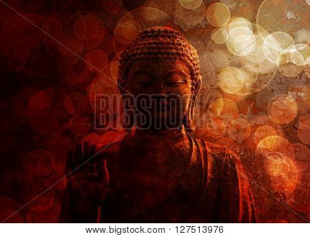 Bronze Zen Buddha Statue Raised Palm with Blurred Textured Red Background