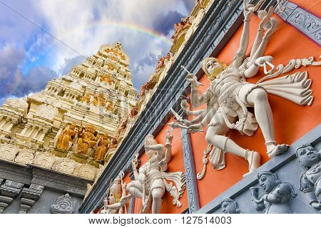 Rainbow Over Dravidian Architecture Exterior of Sri Senpaga Vinayagar Hindu Temple in Singapore