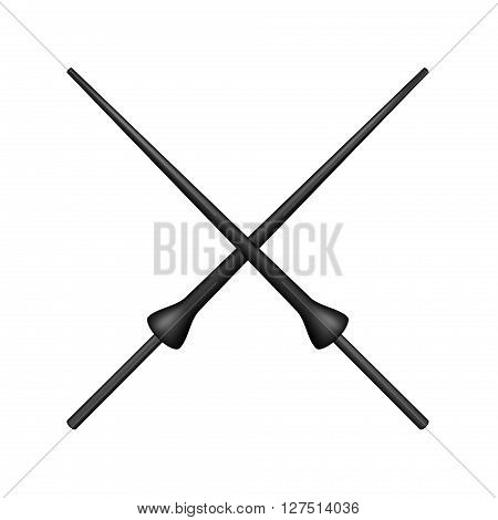 Two crossed lances in black design on white background