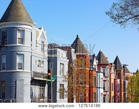 Residential row houses in US capital in spring. Historic architecture of Shaw neighborhood in Washington DC USA