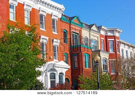 The vibrant Shaw neighborhood in Washington DC. Residential buildings in the heart of US capital.