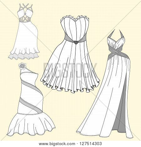 Clothing design. Women's evening dresses. The linear design of women's clothing