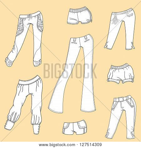 The design of summer clothes. Women's summer trousers and shorts
