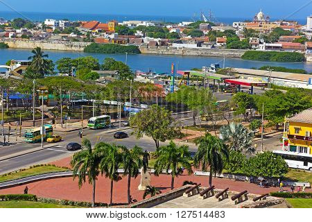 CARTAGENA, COLOMBIA - DECEMBER 27: A view on the city from San Filipe de Barajas Castle in Cartagena on December 27, 2015. Magnificent views on the old walled town and Caribbean Sea from atop of the main city attraction.