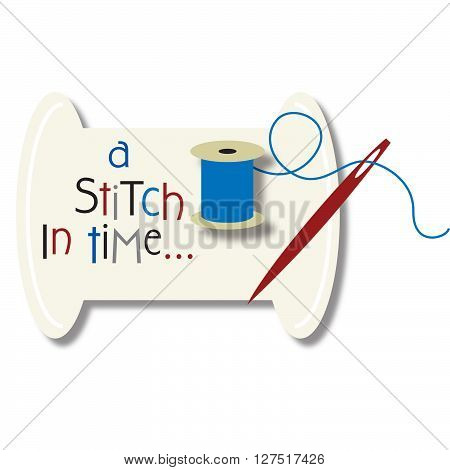 a stitch in time illustration with needle and thread