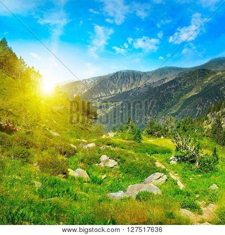 Beautiful sunrise in high mountains