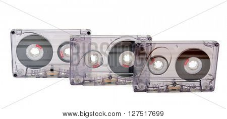 audio cassettes isolated on white