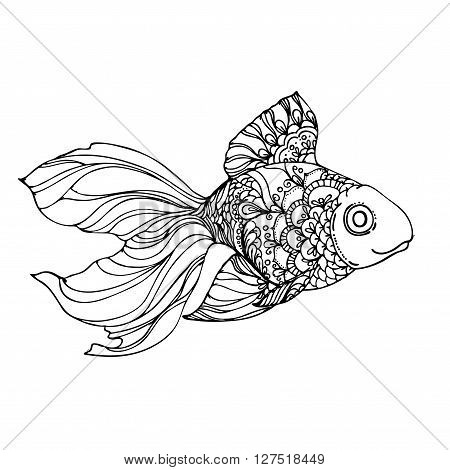 hand drawn ink golden fish on white background. Coloring page - design for adults poster print t-shirt invitation banners flyers.