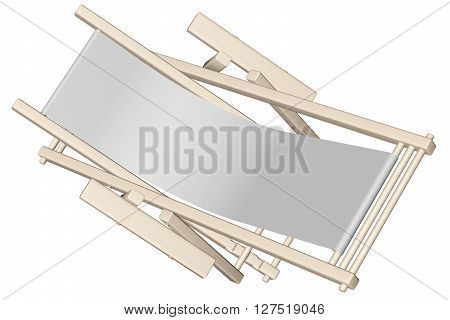 .wooden Beach Deck Chair With Grey Fabric Isolated On White Background.