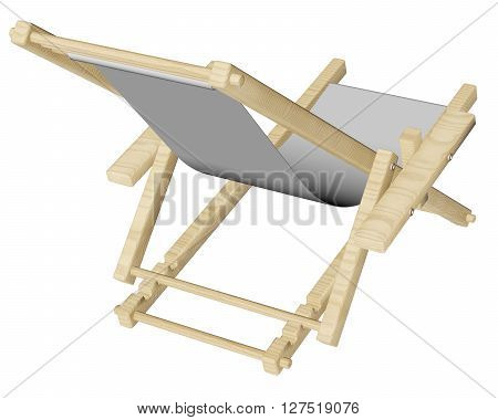 Wooden Beach Deck Chair Isolated On White Background.