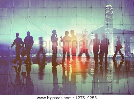 Business People Meeting Discussion Commuter Walking Concept