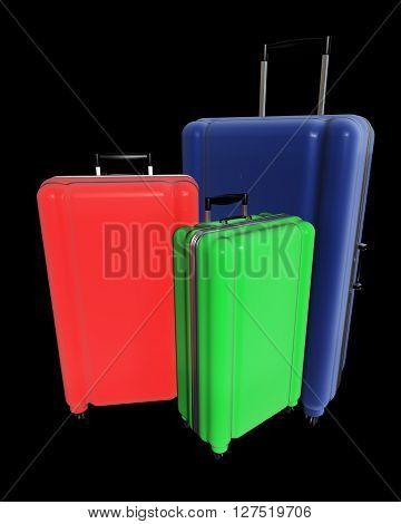 Large Luggages Isolated On Black Background.