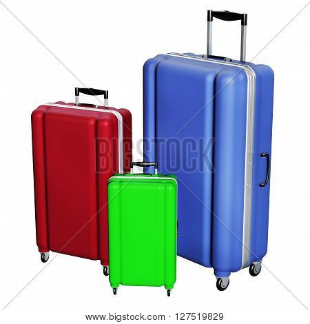 Luggages Isolated On White Background.