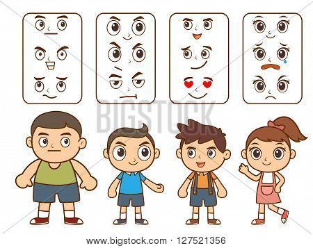 Boys and girl cartoon character with face emotion detail
