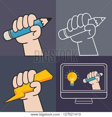Graphic hand and pencil, idea graphic in screen and thunder