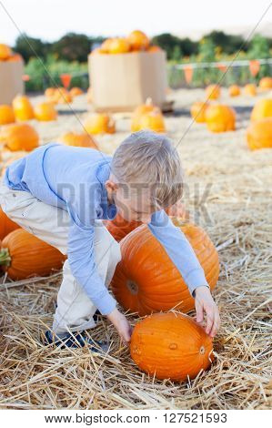 smiling little boy rolling pumpkin and enjoying autumn time at pumpkin patch