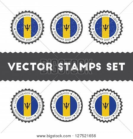 I Love Barbados Vector Stamps Set. Retro Patriotic Country Flag Badges. National Flags Vintage Round