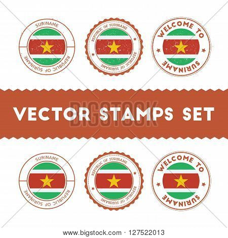 Surinamer Flag Rubber Stamps Set. National Flags Grunge Stamps. Country Round Badges Collection.