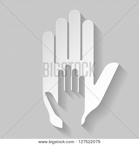 Hand in hand illustration in paper style. Idea of assistance help and cooperation