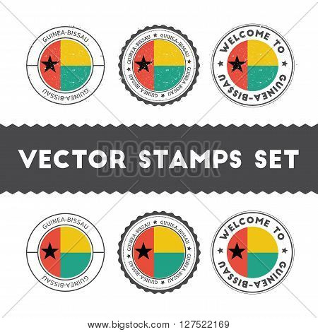 Guinea-bissauan Flag Rubber Stamps Set. National Flags Grunge Stamps. Country Round Badges Collectio