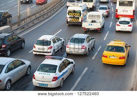 Izmir Turkey - February 5 2015: Cars drive on the main street of modern Izmir city