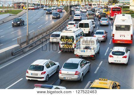 Izmir Turkey - February 5 2015: Different cars drive on the main street of modern Izmir city