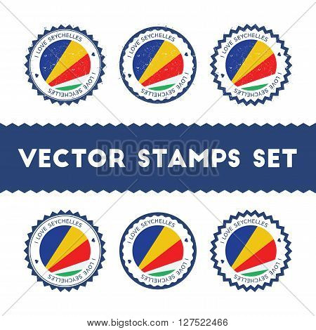 I Love Seychelles Vector Stamps Set. Retro Patriotic Country Flag Badges. National Flags Vintage Rou