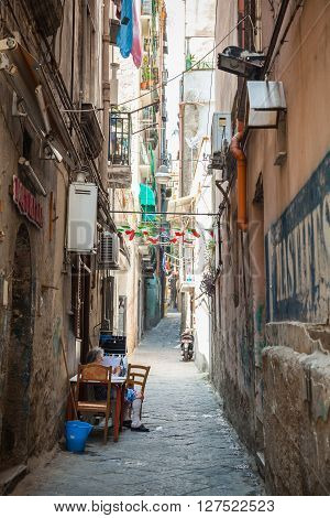 Narrow Street Of Old Naples, Italy