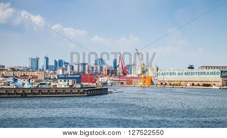 Port Of Naples, Coastal Cityscape In Summer