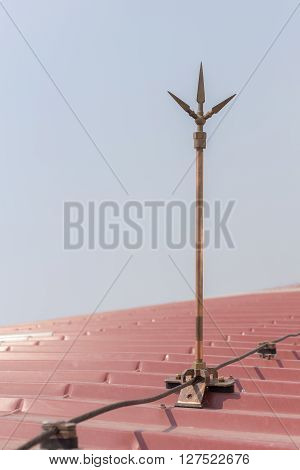 lightning rod copper over the roof safety equipment