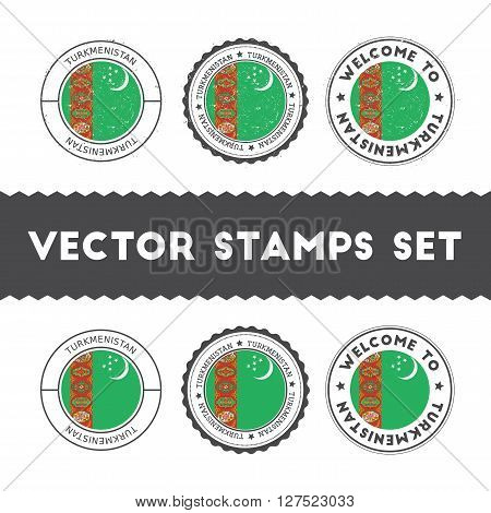 Turkmen Flag Rubber Stamps Set. National Flags Grunge Stamps. Country Round Badges Collection.