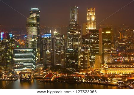 Illuminated Night View Of Singapore