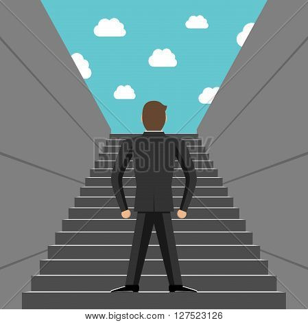 Ambitious Businessman Climbing Steps