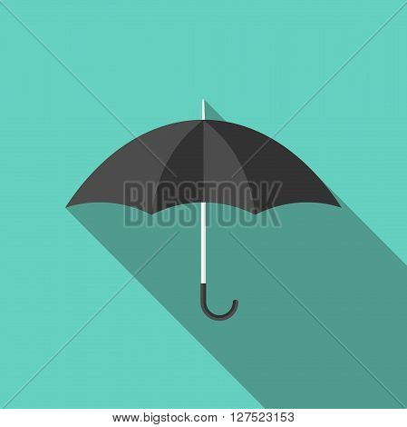 Black flat style umbrella with long shadow on turquoise blue. Fashion weather rain season and insurance concept. EPS 8 vector illustration no transparency