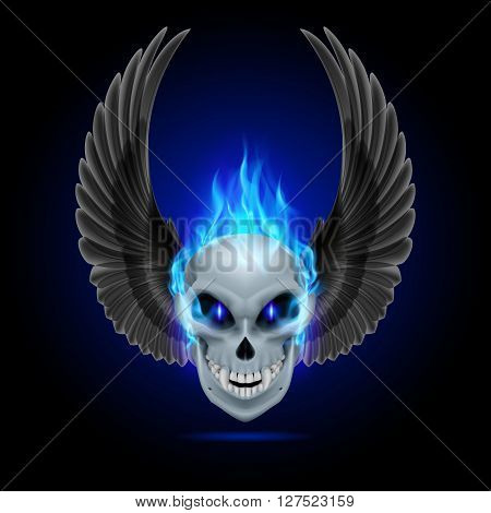 Mutant skull with blue flame and raised wings