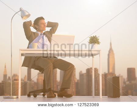 City Businessman Working Rooftop Concept
