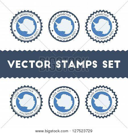 I Love Antarctica Vector Stamps Set. Retro Patriotic Country Flag Badges. National Flags Vintage Rou