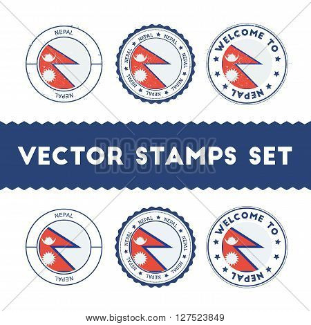Nepalese Flag Rubber Stamps Set. National Flags Grunge Stamps. Country Round Badges Collection.